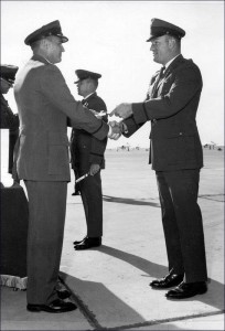 Receiving Certificate of Aeronautical Rating - Jet Pilot from Colonel Chester J. Butcher October 22, 1966